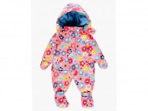 Veselá dětská zimní kombinéza růžová pro holčičku kytičky s odepínatelnou kapucí, rukavicemi, a botičkami a fleecem duté vlákno miminko Boboli