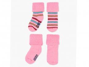 <p>Teplé dětské ponožky pro holčičku z měkkého froté, s ohrnutým lemem až do velikosti podkolenky. Jemné pružení pro maximální pohodlíčko, jako v bavlnce. Ozdobeno barevnými kontrastními proužky.</p>