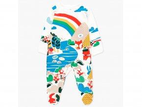 <p>Kojenecký overal z jemné bavlny s dlouhými rukávy a nohavicemi s ťapkami a protiskluzem. Barevný potisk veselé přírody. Unisex</p>