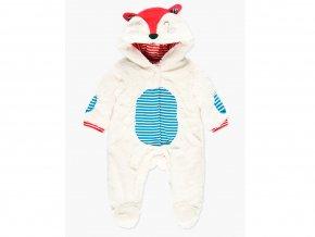 Bílá kojenecká kombinéza s oušky kožíšek veselá lištička Boboli overal s kožíškem teplý pro miminko