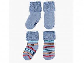 Dva páry teplých froté ponožek pro chlapečka v modro-šedivé barvě a s proužky.