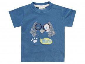 Jacky Kojenecké Tmavě modré tričko s krátkým rukávem a 3D výšivkou pejska pro chlapečka.
