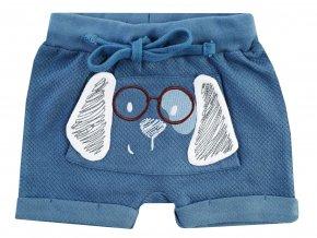Jacky Modré šortky pro chlapečka z vaflového piké s hravou 3D výšivkou pejska s odklápěcíma ušima klokaní kapsa