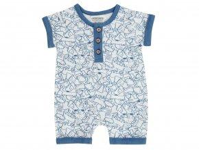 Jacky kojenecký Bílý overal s krátkým rukávem a nohavicemi s drobným modrým potiskem pejsků s kostmi. 100% jemná bavlna