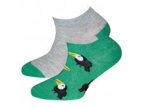 Dětské ponožky nízké Papoušek zelené