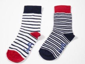 Kojenecké ponožky pruhované Námořník (2 páry) (Velikost EU 23-26)