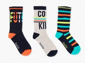 Klučičí ponožky pohodář barevné 3 páry šedé oranžové pruhované tyrkys Boboli set