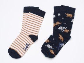 Dětské ponožky pro kluka tmavě modré béžové pruhované zvířátka slůně Ewers K 14269