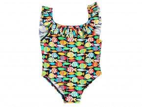 Kojenecké plavky v celku pro holčičku Barevné Rybičky barevné s taštičkou plavečky s volánky Boboli