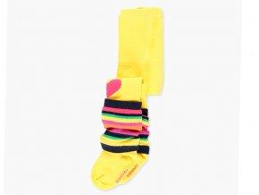Holčičí punčocháče žluté srdíčko s posuvnými návleky žluté duhové barevné srdíčka holčička