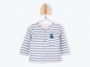 Kojenecké tričko s dlouhým rukávem Ryba v kapse pruhované