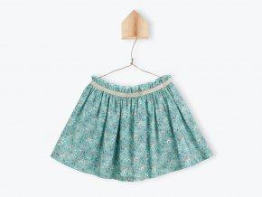 Dívčí sukně zelená kolová sukně pro holku přírodní barvy ptáčci Francouzský design E20FJ01 FR BIR