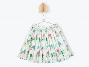 Dívčí kolová sukně bílá Papoušek Aquarel