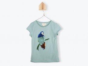 Dívčí tričko Organic s překlápšjícími flitru Papoušek