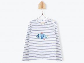 Dívčí tričko s dlouhým rukávem Bybička z flitrů pruhované