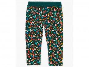 <p>Dívčí strečové kalhoty s jemnou fleecovou podšívkou tmavě zelené barvy s pestrobarevným potiskem pro celodenní zábavu v teple.</p>