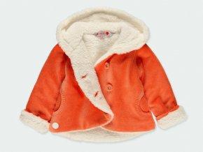Kojenecký kabátek s kožíškem oranžový