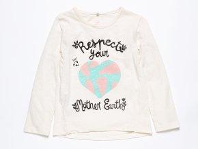 Dívčí tričko s dlouhým rukávem Země Srdce ORGANIC K 10582