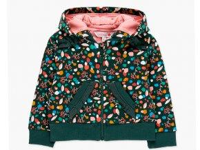 <p>Dívčí mikina na zip s odepínatelnou kapucí a ozdobenými volánky v tmavě zelené barvě s pestrobarevným potiskem.</p>