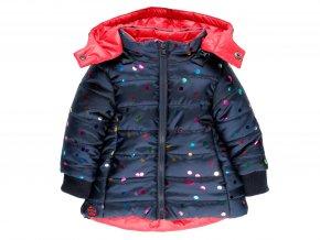 Dívčí zimní bunda oboustranná duhové puntíky