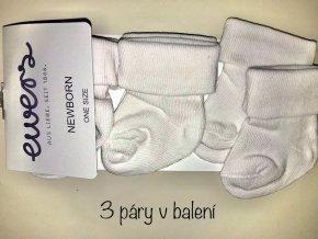 Novorozenecké ponožky mimi bílé bavlna 3 v 1 Ewers 2420120 901 ONE SIZE