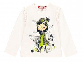 Bílé tričko pro holku s dlouhým rukávem bavlna holka volánky hezký potisk zelené Boboli. 2110591111 a