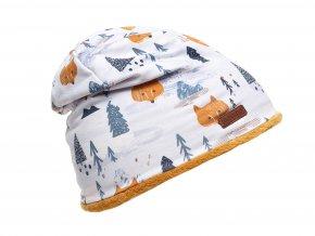 Dětská čepice Zimní Příroda Liška bílá oranžová kluk holka fleece K 10416