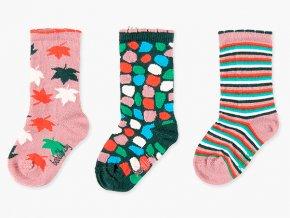 <p>Dívčí bavlněné ponožky s ozdobným lemem a podzimními motivy barevných lístků a proužků</p>