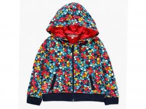<p>Dívčí mikina na zip s odepínací kapucí na pět knoflíků a s kontrastní bavlněnou podšívkou kapuci a oblasti výstřihu a ramen. Táhlo zipu ve tvaru kytičky. Do soupravy s kalhotami.</p>