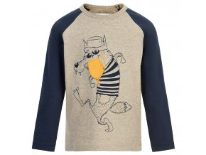 tmavě modré khaki tričko kluk dlouhý rukáv komiks vlk Minymo 131354 2060