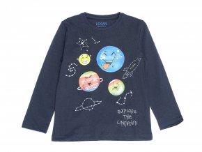 Chlapecké tričko tmavě modré dlouhý rukáv Modré Souhvězdí Reflex veselé planety barevné dlouhý rukáv kluk K 13035
