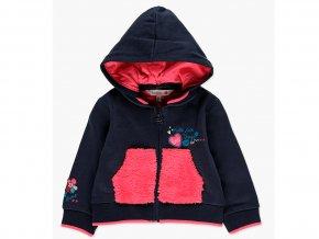 Tmavá mikina na zip pro holčičku tmavě modrá růžová s kožíškem odepínací kapuce Boboli 2181242440 f
