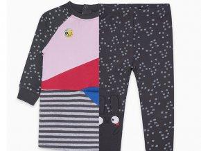 Dívčí souprava mikinové šaty a legíny tmavé barevné růžové pro holčičku TucTuc