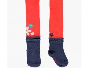 Punčocháče holčičí květy červené s tmavě modrou ponožkou holčička Boboli výprodej