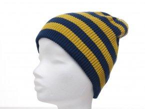Oboustranná dětská zimní čepice tvaru beanie, jemná žebrová pletenina ze 100% bavlny, s variabilním lemem (může se nosit ohrnutý i rozmotaný). Každá strana v jiné barevné variantě;