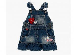 Džínová sukně laclová s výšivkami květin pro holčičku Boboli