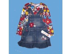 <p>Dívčí džínové šaty s laclem a volánky, zdobené květinovou výšivkou. Fantastická klasika s malým tunningem.</p>