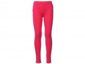 Dívčí strečové kalhoty sytě růžové barvy s teplou fleecovou podšívkou