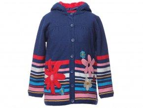 Holčičí dlouhý svetr s růžovým kožíškem na knoflík tmavě modrrý červený pruhovaný pletená bunda Boboli holka