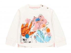 Holčičí mikina bílá s květy světlá mikina něžná holka Boboli 2220061111 a