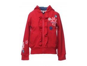 <p>Dětská mikina s odepínatelnou kapucí na zip a bavlněnou podšívkou. Zip je z obou stran lemován krátkým ozdobným volánkem. Nesouměrně ozdobeno  různobarevnými květy.</p><p>Kolekce Květy</p>