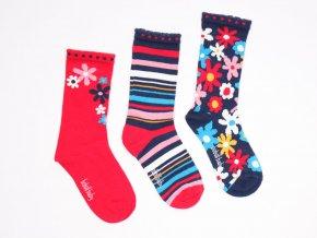 Dívčí ponožky 3 páry Květy barevné holčička červené barevné modré bavlna Boboli