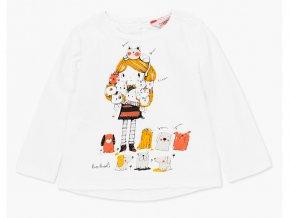 bílé tričko holka dlouhý rukáv krajka pro holčičku kočička a pejsek Boboli 2281141111 a