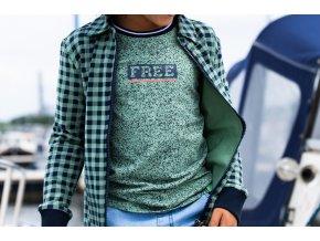 Klučičí košile kostkovaná zelená mikina na zip kluk BNOSYY012 6101 382 2