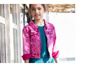 Holčičí džíska ružová strečová bunda holka lehká růžová džínová bunda BNOSY Y102 5311 209 2