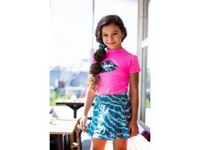 Dívčí tričko svítivě růžové modrá sukně s volánky set léto holka BNOSY model Y102 5414 270 2
