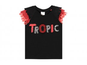 Dívčí tričko černé Tropic krátký rukáv růžové volánky holka Boboli 412030890 a