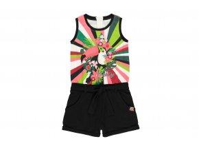 Dívčí overal Tropical barevný overal top a černé šortky pro holku bavlna Boboli 4121641100 a