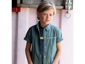 Chlapecká košíle s krátkým rukávem patentky zelená khaki kluk BNOSY Holand Y102 6110 308 2