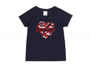 Tmavé dívčí tričko se srdíčkem trikolóra tmavě modré Boboli 4520452440 a